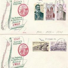 Sellos: EDIFIL 1939/43, FORJADORES DE AMERICA, CHILE, PRIMER DIA DE 12-10-1969 EN DOS SOBRES DE ALFIL. Lote 166822734