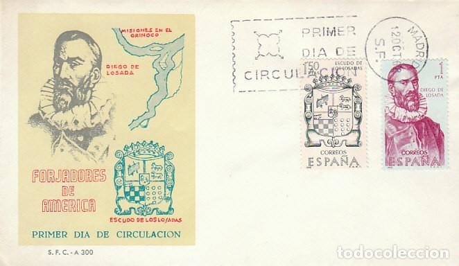 EDIFIL 1890/1, DIEGO DE LOSADA Y SU ESCUDO, PRIMER DIA DE 12-10-1968 SOBRE DEL SFC (Sellos - Temáticas - Historia)