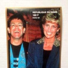 Timbres: LADY DIANA & ELTON JOHN HOJA BLOQUE DE SELLOS NUEVOS DE NIGER. Lote 199149873
