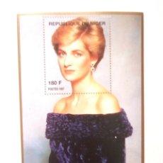 Timbres: LADY DIANA HOJA BLOQUE DE SELLOS NUEVOS DE NIGER. Lote 199149992