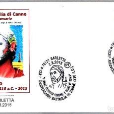 Sellos: MATASELLOS 2231 AÑOS BATALLA DE CANNE - ANIBAL. BARLETTA, ITALIA, 2015. Lote 168302920