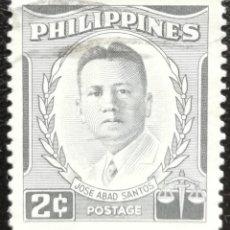 Timbres: 1958. HISTORIA. FILIPINAS. 461-B. JOSÉ ABAD SANTOS, ILUSTRE POLÍTICO. USADO.. Lote 170005936