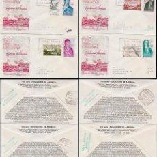 Sellos: EDIFIL 1819/26, FORJADORES DE AMERICA 1967, PRIMER DIA 12-10-1967 EN CUATRO SOBRES ALFIL CIRCULADO. Lote 170091152