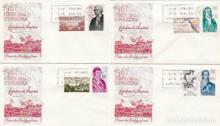 EDIFIL 1819/26, FORJADORES DE AMERICA 1967, PRIMER DIA 12-10-1967 EN CUATRO SOBRES ALFIL (Sellos - Temáticas - Historia)