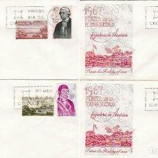 Sellos: EDIFIL 1819/26, FORJADORES DE AMERICA 1967, PRIMER DIA 12-10-1967 EN CUATRO SOBRES ALFIL . Lote 170091200