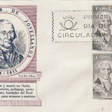 Sellos: EDIFIL 1655, GASPAR MELCHOR DE JOVELLANOS, PRIMER DIA DE 28-2-1965 SOBRE DE ALFIL CON BLOQUE DE 4. Lote 171594782