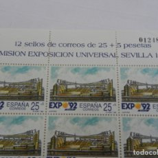 Sellos: PLIEGO 12 SELLOS 25+5 PTA. EMISIÓN EXPOSICIÓN UNIVERSAL SEVILLA 92. AUDITORIO. 1991. NUEVO. . Lote 172789007