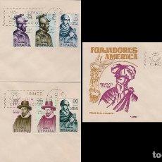 Sellos: EDIFIL 1622/9, FORJADORES DE AMERICA 1964, PRIMER DIA 12-10-1964 EN 3 SOBRES DE ALONSO. Lote 174585157
