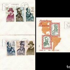 Sellos: EDIFIL 1622/9, FORJADORES DE AMERICA 1964, PRIMER DIA 12-10-1964 EN 3 SOBRES DE ALFIL. Lote 174585275