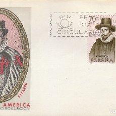 Sellos: EDIFIL 1629, PIZARRO, FORJADORES DE AMERICA 1964, PRIMER DIA 12-10-1964, 1 SOBRE DEL SFC. Lote 174585455