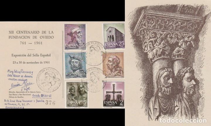 EDIFIL 1394/9, 12 CENTº DE LA FUNDACIÓN OVIEDO, PRIMER DIA ESPECIAL OVIEDO 27-11-1961 EN TARJETA (Sellos - Temáticas - Historia)
