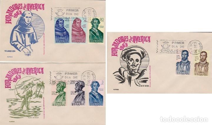 EDIFIL 1526/33, FORJADORES DE AMERICA 1963 PRIMER DIA 12-10-1963 EN 3 SOBRES DE ARRONIZ (Sellos - Temáticas - Historia)