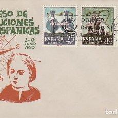 Sellos: EDIFIL Nº 1516/8, CONMEMORACIONES CENTENARIAS DE SAN SEBASTIAN PRIMER DIA 5-6-1963 ALONSO. Lote 179177726