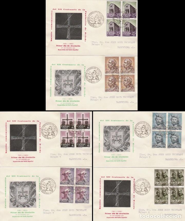 EDIFIL 1394/9, 12 CENTº DE LA FUNDACIÓN OVIEDO, PRIMER DIA ESPECIAL OVIEDO 27-11-1961 BLOQUE DE 4 (Sellos - Temáticas - Historia)