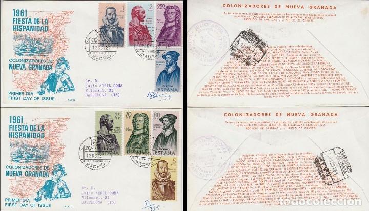 EDIFIL 1374/81, FORJADORES DE AMERICA (NUEVA GRANADA) PRIMER DIA 12-10-1961 ALFIL CIRCULADO (Sellos - Temáticas - Historia)