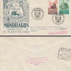 Sellos: AÑO 1960, MONDRAGON (GUIPUZCOA) VII CENTENARIO CONCESION DE CARTA PUEBLA SOBRE PANFILATELI CIRCULADO. Lote 179179761