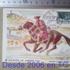 Sellos: TUBAL FRANCIA 1964 TARJETA MAXIMA CORREO A CABALLO S XVIII ENVIO 70 CENT 2019 T1. Lote 179250332
