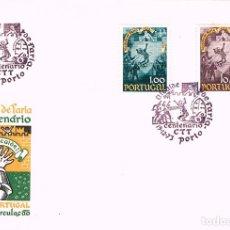 Sellos: PORTUGAL IVERT Nº 1296/7, 6º CENTENARIO DEL HECHO HEROICO DEL ALCAIDE DE FARIA PRIMER DIA 9-12-1973. Lote 180199015