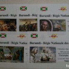 Sellos: BURUNDI-2012-520 AÑOS DE DESCUBRIMIENTO DE AMERICA-SERIE COMPLETA DE 5 BLOQUES SIN DENTAR**(MNH). Lote 180213606