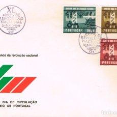 Sellos: PORTUGAL IVERT Nº 984/6, 40 ANIVERSARIO DE LA REOLUCIÓN FASCISTA PORTUGUESA, PRIMER DIA DE 24-5-1966. Lote 180231387