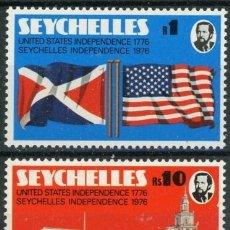 Sellos: SEYCHELLES 1976 IVERT 337/8 * INDEPENDENCIA DE SEYCHELLES Y 2º CENTENARIO IDEPENDENCIA EEUU . Lote 181994776
