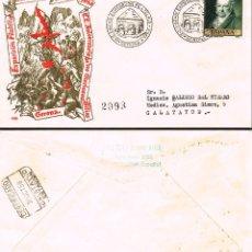 Sellos: AÑO 1958, 150 ANIVERSARIO DE LA GUERRA DE LA INDEPENDENCIA, MATASELLO GERONA, SOBRE DE GOMIS CIRCULA. Lote 182290382
