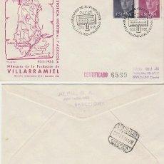 Sellos: AÑO 1955, MILENARIO DE LA FUNDACION DE VILLARRAMIEL (PALENCIA), SOBRE DE ALFIL CIRCULADO. Lote 183415358