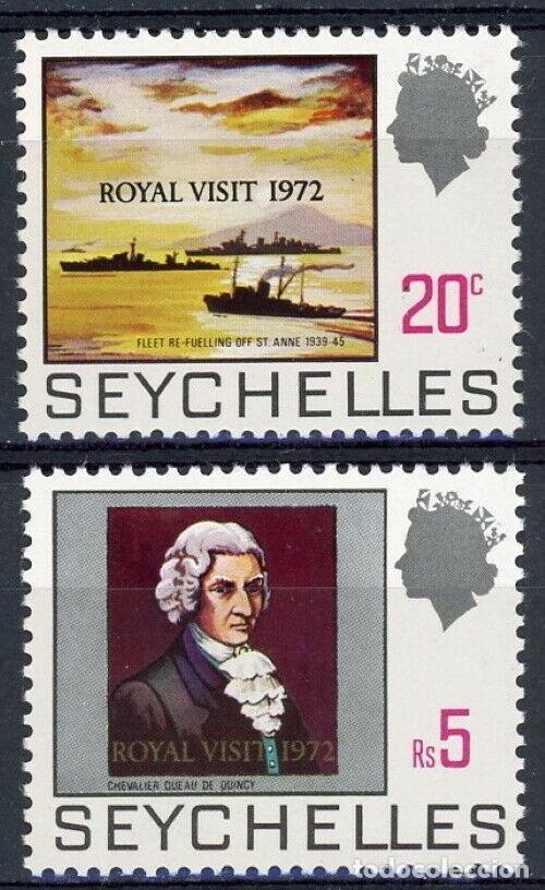 SEYCHELLES 1972 IVERT 291/2 *** VISITA REAL A SEYCHELLES (Sellos - Temáticas - Historia)