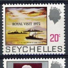 Sellos: SEYCHELLES 1972 IVERT 291/2 *** VISITA REAL A SEYCHELLES. Lote 184034071