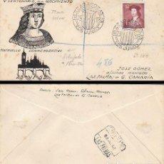 Sellos: EDIFIL 1108, 5º CENTº FERNANDO EL CATOLICO, MATASELLO ZARAGOZA 25-6-1952 SOBRE DIBUJADO A PLUMILLA. Lote 217308646