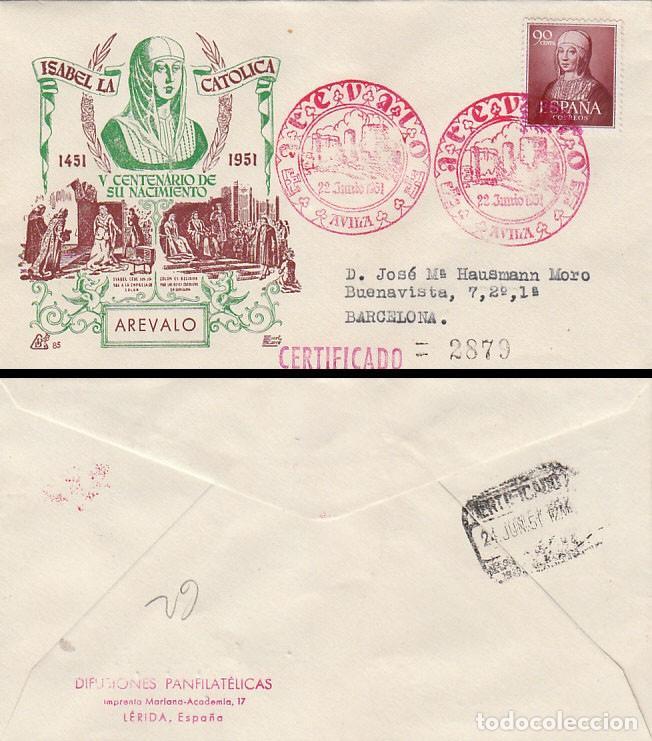AÑO 1951, V CENTENARIO ISABEL LA CATÓLICA, MATASELLO AREVALO (AVILA), PANFILATELICAS CIRCULADO (Sellos - Temáticas - Historia)