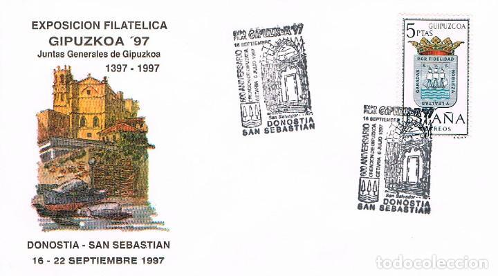 AÑO 1997, 6º CENTENARIO JUNTAS GENERALES GUIPUZCOA, MATASELLO SAN SEBASTIAN, SOBRE OFICIAL (Sellos - Temáticas - Historia)