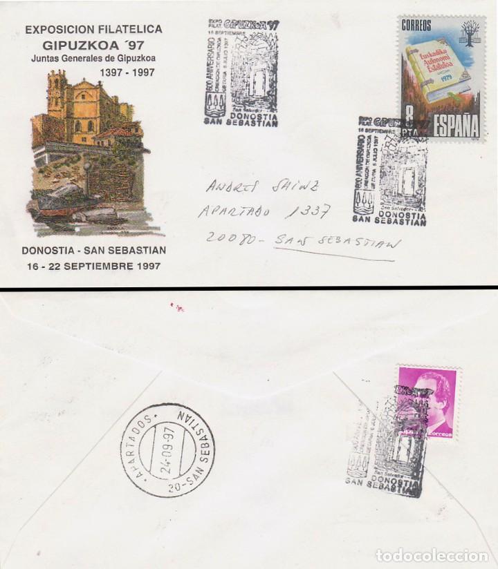 AÑO 1997, 6º CENTENARIO JUNTAS GENERALES GUIPUZCOA, MATASELLO SAN SEBASTIAN, OFICIAL SELLO ESTATUTO (Sellos - Temáticas - Historia)