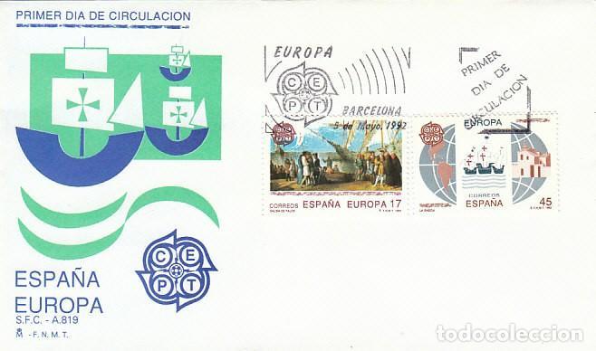 EDIFIL 3196/7, V CENTENARIO DEL DESCUBRIMIENTO DE AMERICA, PRIMER DIA DE 22-5-1992 SFC (Sellos - Temáticas - Historia)