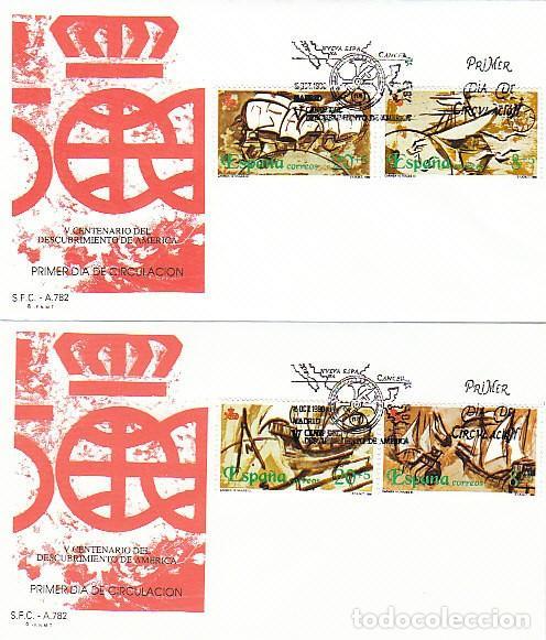 EDIFIL 3079/82, V CENTENARIO DESCUBRIMIENTO DE AMERICA, NAVIOS SIGLO XVI, PRIMER DIA 15-10-1990 SFC (Sellos - Temáticas - Historia)