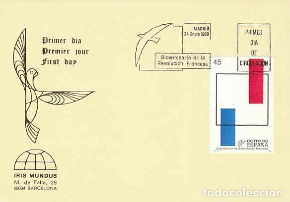 EDIFIL 2988. BICENTENARIO DE LA REVOLUCION FRANCESA, PRIMER DIA DE 24-1-1989 IRIS MUNDUS (Sellos - Temáticas - Historia)