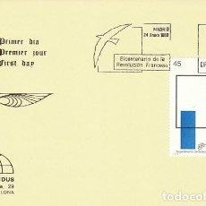 Sellos: EDIFIL 2988. BICENTENARIO DE LA REVOLUCION FRANCESA, PRIMER DIA DE 24-1-1989 IRIS MUNDUS. Lote 194860925