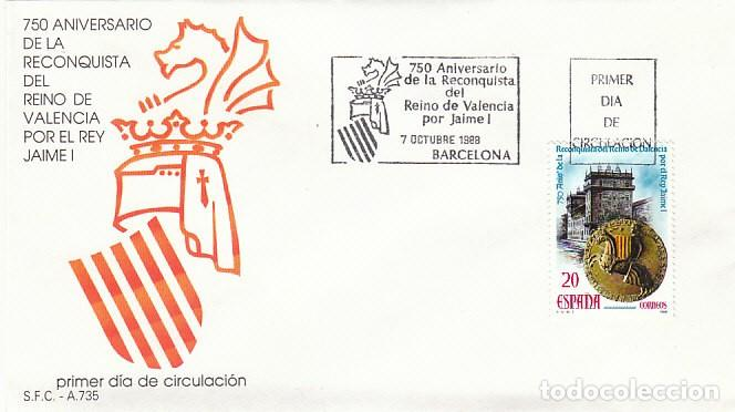 EDIFIL 2967, 750 ANIVERSARIO RECONQUISTA DEL REINO DE VALENCIA POR JAIME I PRIMER DIA 10-10-1988 SFC (Sellos - Temáticas - Historia)