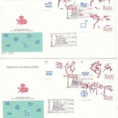 Sellos: EDIFIL 2969/74, V CENTºDESCUBRIMIENTO AMERICA, FORJADORES, DE CARNET PRIMER DIA MATASELLO 13-10-1988. Lote 194861310