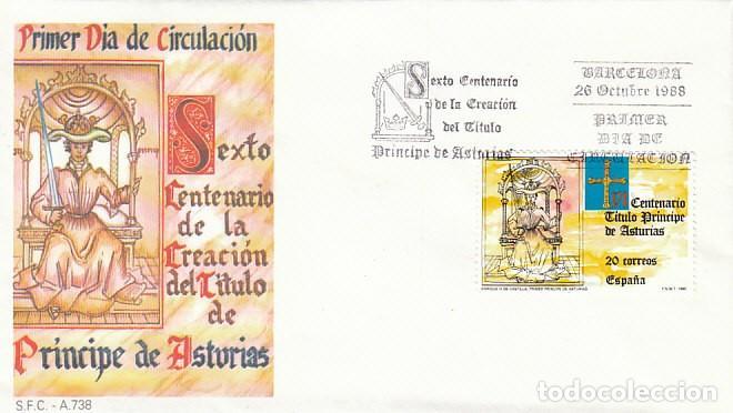 EDIFIL 2975, VI CENTENARIO DE LA CREACION DEL TITULO PRINCIPE DE ASTURIAS, PRIMER DIA 6-10-1988 SFC (Sellos - Temáticas - Historia)
