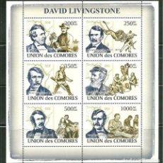 Sellos: COMORES 2009 IVERT 1363/8 *** PERSONAJES - DAVID LIVINGSTONE - EXPLORADOR BRITÁNICO. Lote 195412947