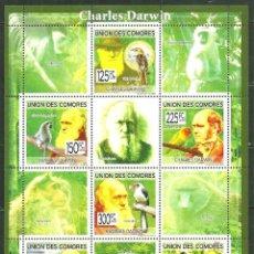 Sellos: COMORES 2009 IVERT 1625/30 *** CHARLES DARWIN - PERSONAJES. Lote 195413442