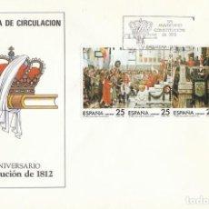Sellos: EDIFIL 2887/90, 175 ANIVERSARIO DE LA CONSTITUCION DE 1812 (LA PEPA) PRIMER DIA 18-3-1987 SFC. Lote 195487235