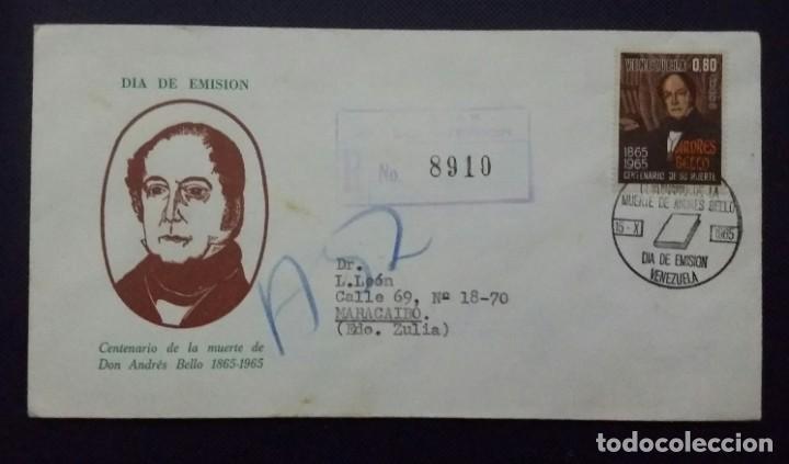 SOBRE Y TARJETA SIN ABRIR 1965. 1A. EMISIÓN CON SELLOS. CENTENARIO MUERTE DON ANDRÉS BELLO.VENEZUELA (Sellos - Temáticas - Historia)