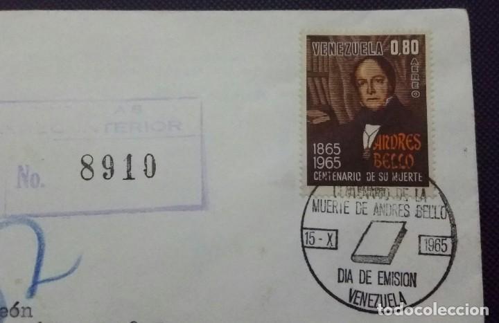 Sellos: SOBRE Y TARJETA SIN ABRIR 1965. 1a. EMISIÓN CON SELLOS. CENTENARIO MUERTE DON ANDRÉS BELLO.VENEZUELA - Foto 3 - 198549271