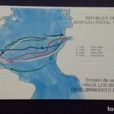 Sellos: FOLLETO 1987 1A. EMISIÓN SELLOS POSTALES: HACIA LOS 500 AÑOS DESCUBRIMIENTO D AMÉRICA. VENEZUELA. Lote 198635741