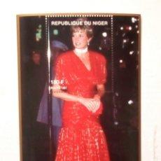 Timbres: LADY DIANA DE ROJO HOJA BLOQUE DE SELLOS NUEVOS DE NIGER. Lote 199150661