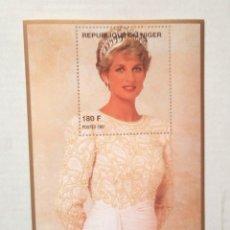 Sellos: LADY DIANA DE BLANCO HOJA BLOQUE DE SELLOS NUEVOS DE NIGER. Lote 199151026