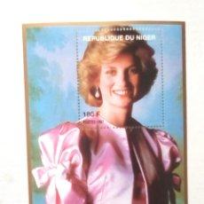 Timbres: LADY DIANA HOJA BLOQUE DE SELLOS NUEVOS DE NIGER. Lote 199152145