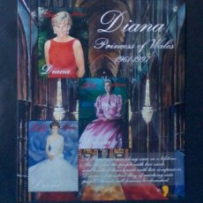 Timbres: LADY DIANA HOJA BLOQUE DE SELLOS NUEVOS DE LIBERIA. Lote 204595103